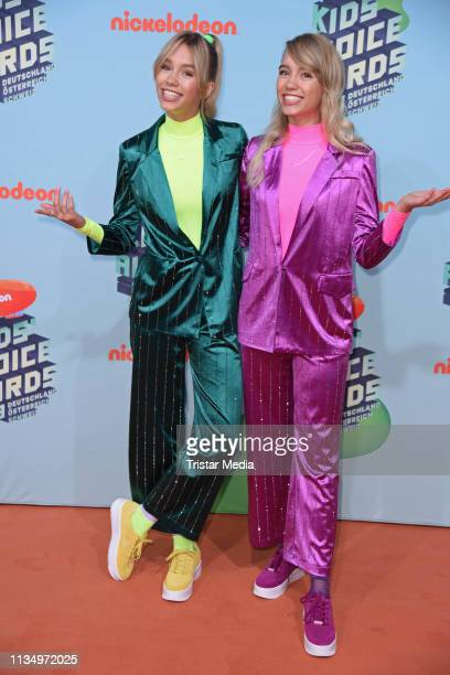 Lisa Mantler and Lena Mantler attend the Nickelodeon Kids Choice Awards on April 4 2019 in Rust Germany