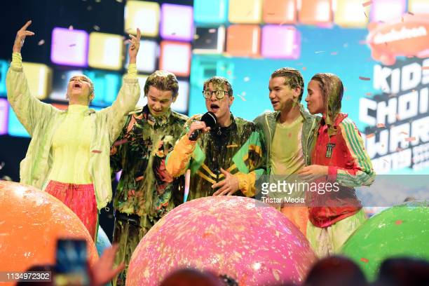 Lisa Mantler and Lena Mantler Marcus Gunnarsen and Martinus Gunnarsen of the Norwegian music duo Marcus Martinus and Sascha Quade are seen on stage...