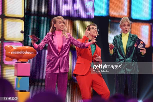 Lisa Mantler Lena Mantler and Sascha Quade are seen on stage at the Nickelodeon Kids Choice Awards on April 4 2019 in Rust Germany