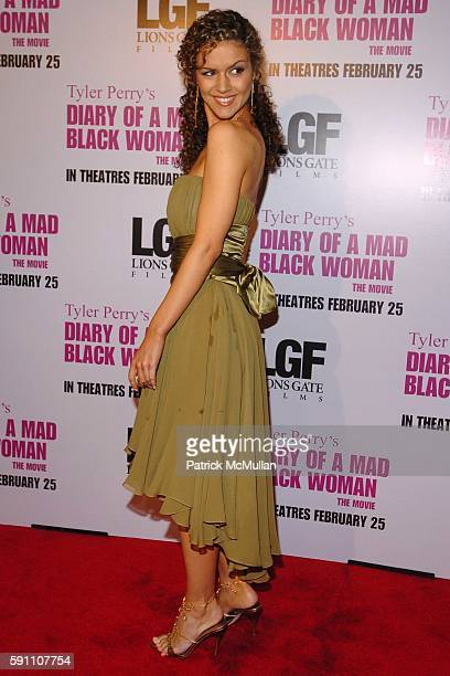 """Lisa Marcos attends World Premiere of Lions Gate Films' """"Diary of a Mad Black Woman"""" at ArcLight Cinerama Dome on February 21, 2005 in New York City."""