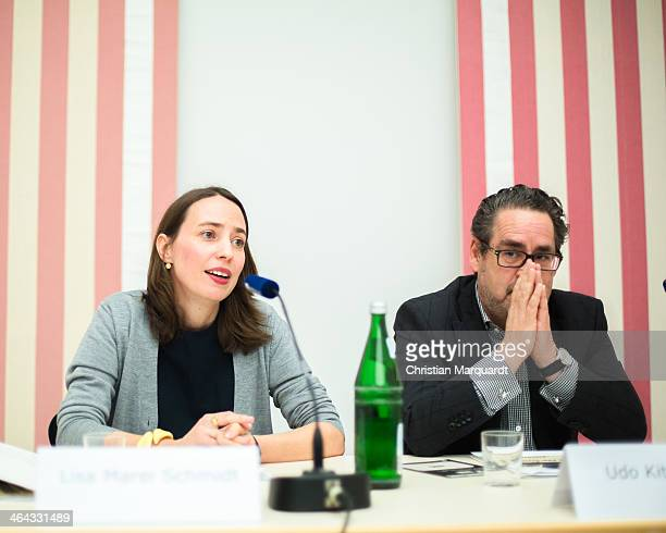 Lisa Marei Schmidt curator of the exhibition and Udo Kittelmann director of Nationagalerie speak to the media during a press conference for the...