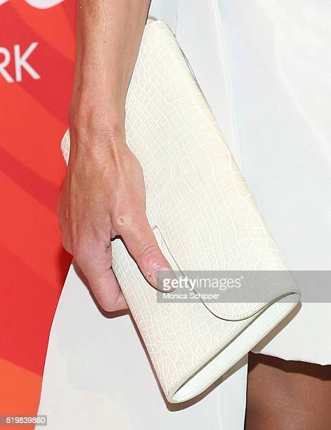 Lisa Maria Falcone purse detail attends Variety's Power Of Women New York 2016 at Cipriani Midtown on April 8 2016 in New York City