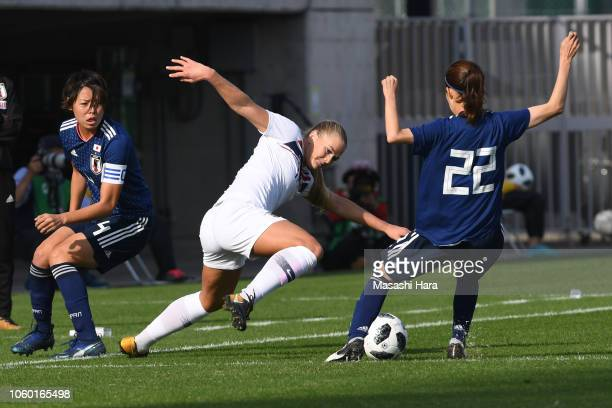 Lisa Maria Karlseng Utland of Norway Saki Kumagai and Risa Shimizu of Japan compete for the ball during the international friendly match between...