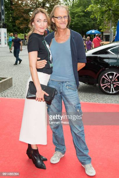 Lisa Maria Potthoff and Eisi Gulp attend the premiere of the movie 'Bier Royal' as part of the Munich Film Festival 2018 at Gasteig on July 4, 2018...