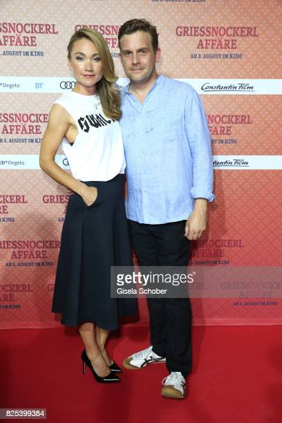 Lisa Maria Potthoff and Sebastian Bezzel during the 'Griessnockerlaffaere' premiere at Mathaeser Filmpalast on August 1 2017 in Munich Germany