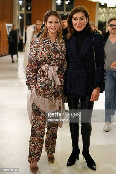Lisa Marie Koroll and Alexandra von Rehlingen attend the 'Icons in Fashion' vernissage during the Der Berliner Mode Salon A/W 2017 at...