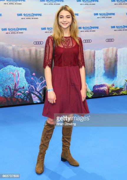 "Lisa Marie Koroll arrives at the ""Die Schluempfe - Das verlorene Dorf' Berlin premiere at Sony Centre on April 2, 2017 in Berlin, Germany."