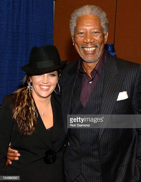 Lisa Marie Presley and Morgan Freeman during The Recording Academy HONORS 2005 at Memphis Cook Convention Center in Memphis Tennessee United States