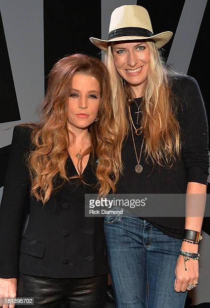 Lisa Marie Presley and singer/songwriter Holly Williams backstage before their performance at 3rd Lindsley during the 14th Annual Americana Music...