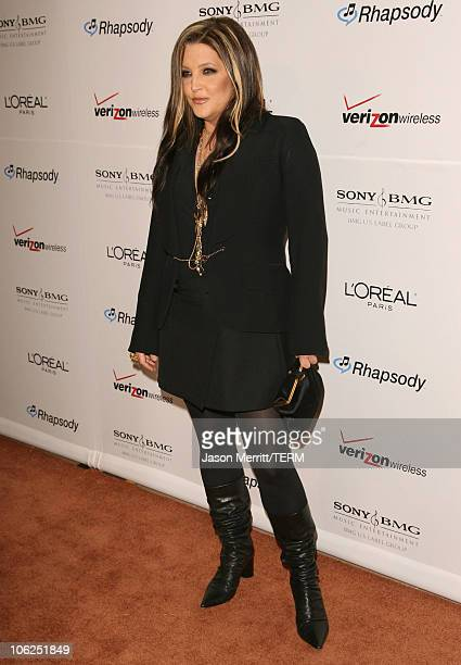 Lisa Marie Presley during 2007 Clive Davis PreGRAMMY Awards Party Arrivals at Beverly Hilton Hotel in Beverly Hills California United States
