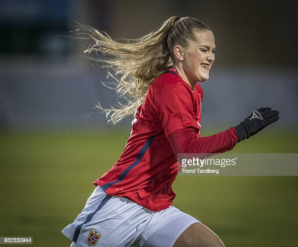 Lisa Marie Utland of Norway during the Women International Friendly match between Norway and Sweden at La Manga Club on January 19 2017 in La Manga...