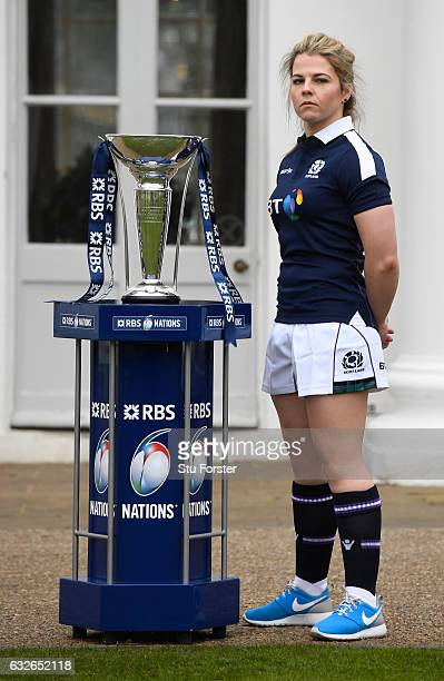 Lisa Martin Captain of Scotland Women poses with The Six Nations Trophy during the 2017 RBS Six Nations launch at The Hurlingham Club on January 25...