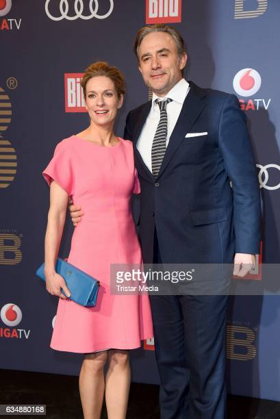 Lisa Martinek and her husband Giulio Ricciarelli attend the PLACE TO B Party at Borchardt on February 11 2017 in Berlin Germany