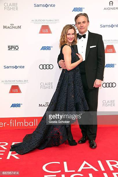 Lisa Martinek and her husband Giulio Ricciarelli during the 44th German Film Ball 2017 arrival at Hotel Bayerischer Hof on January 21 2017 in Munich...