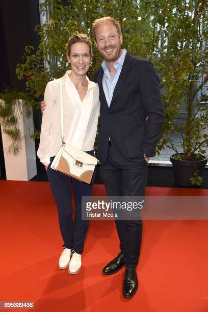 Lisa Martinek and Johann von Buelow attend the cocktail prolonge to the semifinal round of judging of The International Emmy Awards 2017 on June 12...