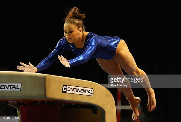 Lisa Mason of Huntingdon competes in the Vault in the Women's Senior Apparatus Finals during the Men's and Women's British Gymnastics Championships...