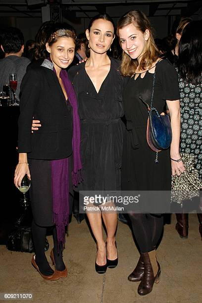 Lisa Mayock Mia Maestro and Sophie Buhai attend GLAMOUR Magazine Fashion Gives Back Party at Milk Studios Penthouse on February 1 2007 in New York...