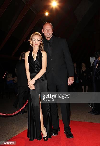 Lisa McCune and Teddy Tahu Rhodes arrive at the 2012 Helpmann Awards at the Sydney Opera House on September 24 2012 in Sydney Australia