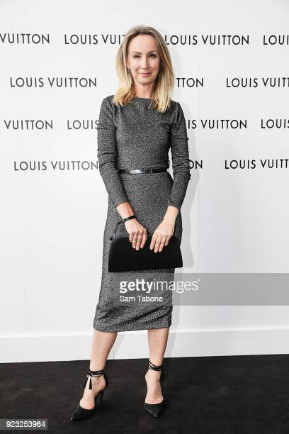 Lisa McCune arrives at the Louis Vuitton Time Capsule exhibition at Chadstone Shopping Centre on February 23 2018 in Melbourne Australia