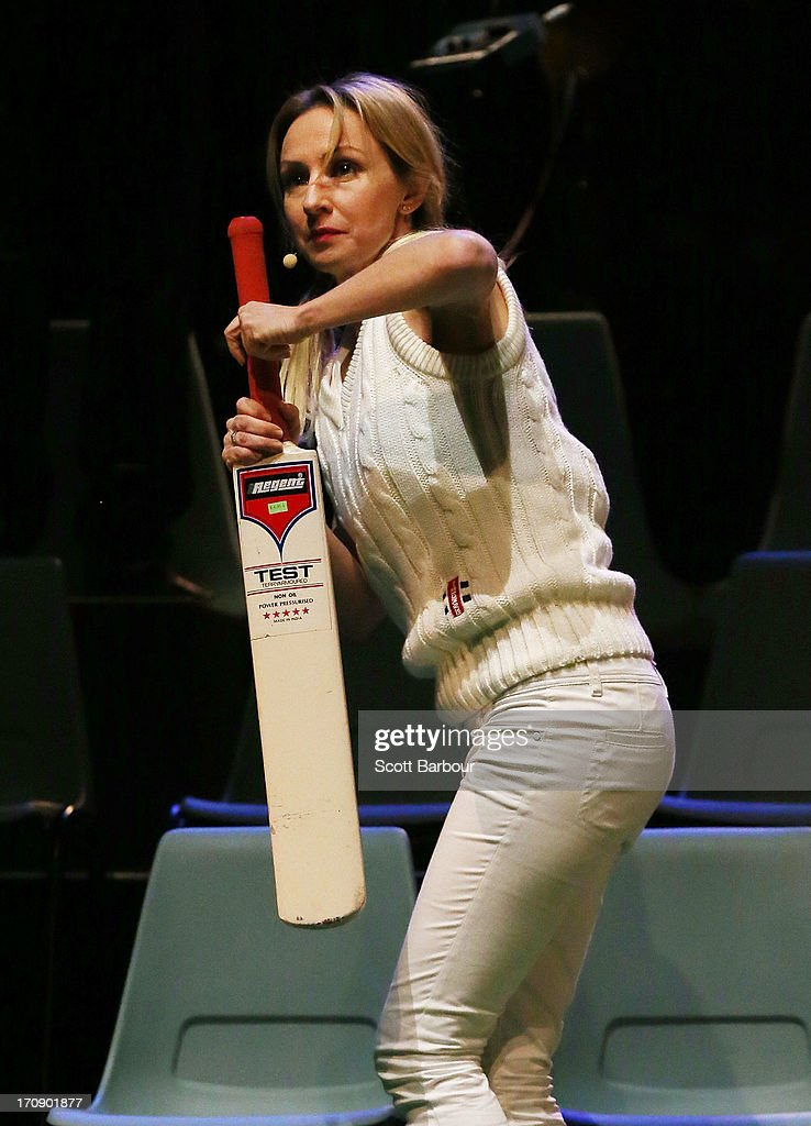 Lisa McCune, who plays Simone Warne holds a cricket bat as she performs during a 'Shane Warne The Musical' media call at the Arts Centre Melbourne on June 20, 2013 in Melbourne, Australia. Shane Warne The Musical is a musical comedy based on the life of Australian cricketer Shane Warne.