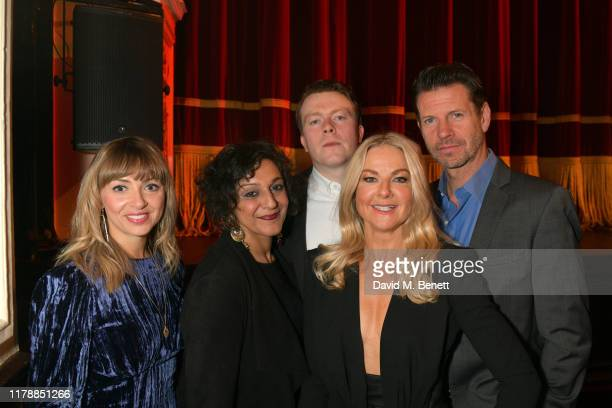 Lisa McGrillis Meera Syal Daniel Rigby Sarah Hadland and Lloyd Owen attend the press night after party for Noises Off at The Garrick Theatre on...