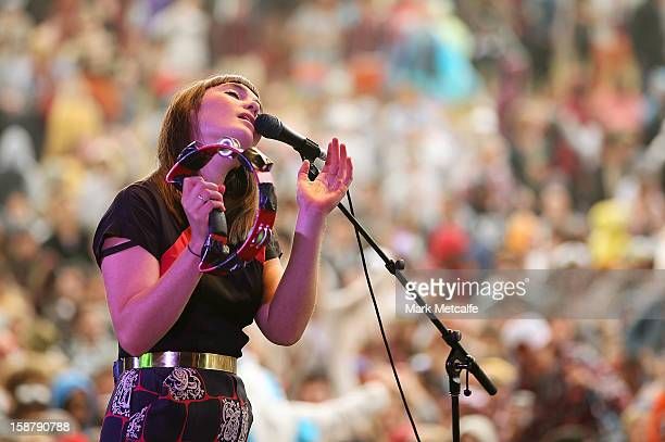 Lisa Mitchell performs live on stage at The Falls Music and Arts Festival on December 29 2012 in Lorne Australia