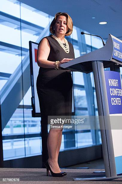 Lisa Monaco speaks on stage at the James W Foley Freedom Awards at The Newseum on May 3 2016 in Washington DC The James W Foley Legacy Foundation was...