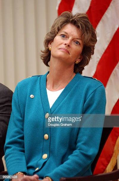 Lisa Murkowski RAlaska during a signing ceremony to renew the Federal Agreement and RightofWay for the TransAlaska Pipeline System at the Interior...