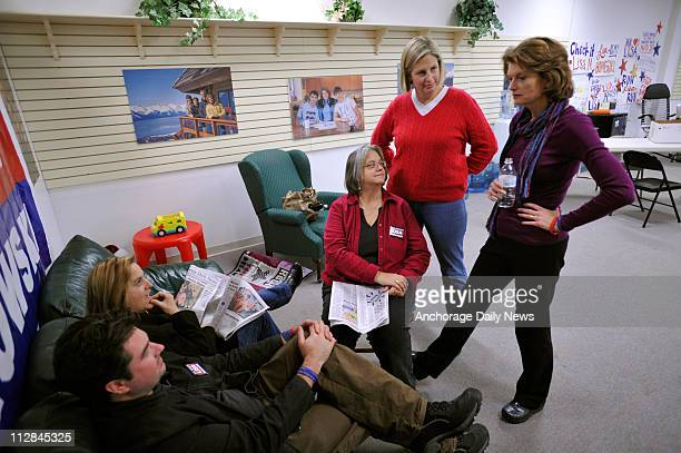 Lisa Murkowski right talks with family and friends at her Anchorage Alaska campaign headquarters on Wednesday November 3 2010 Murkowski is hoping the...