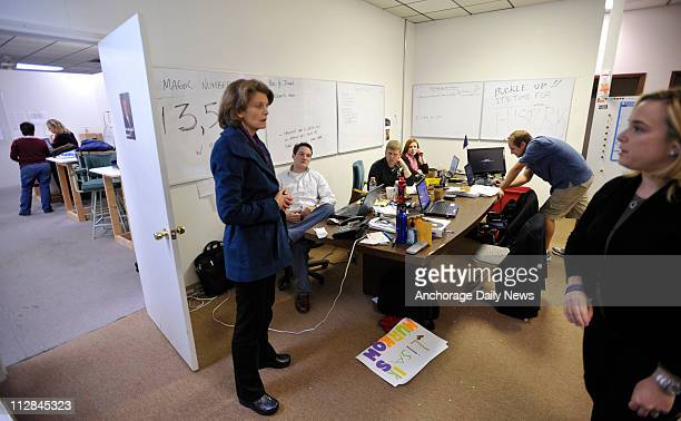 Lisa Murkowski talks with her campaign staff at her Anchorage Alaska campaign headquarters on Wednesday November 3 2010 Murkowski is hoping the...