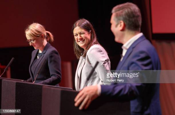 Lisa Nandy and Sir Keir Starmer share a joke onstage at the Labour leadership hustings at SEC in Glasgow on February 15 2020 in Glasgow Scotland Sir...