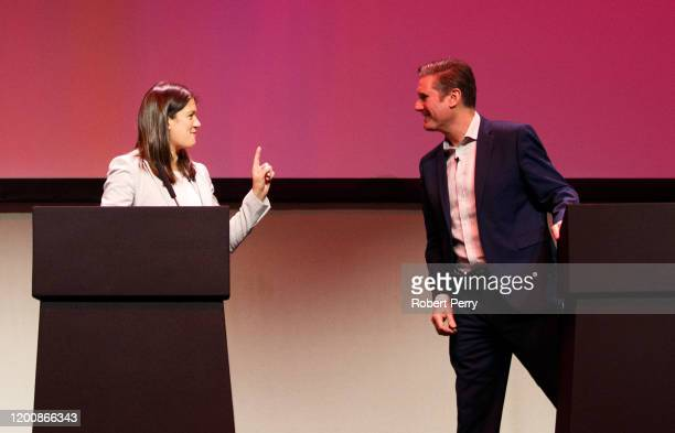 Lisa Nandy and Sir Keir Starmer speaking at the Labour leadership hustings on the stage at SEC in Glasgow on February 15 2020 in Glasgow Scotland Sir...