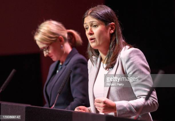 Lisa Nandy at the Labour leadership hustings on the stage at SEC in Glasgow on February 15 2020 in Glasgow Scotland Sir Keir Starmer Rebecca...