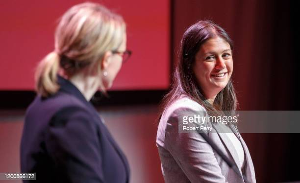 Lisa Nandy looks towards Rebecca LongBailey during the Labour leadership hustings at SEC in Glasgow on February 15 2020 in Glasgow Scotland Sir Keir...