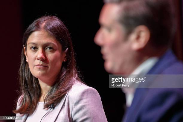 Lisa Nandy looks towards Sir Keir Starmer at the Labour leadership hustings on the stage at SEC in Glasgow on February 15 2020 in Glasgow Scotland...
