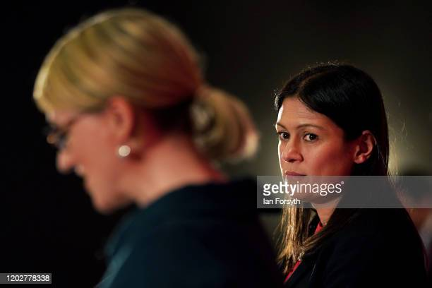 Lisa Nandy MP for Wigan looks on as Rebecca LongBailey Shadow Secretary of State for Business addresses the audience during the Labour Party...