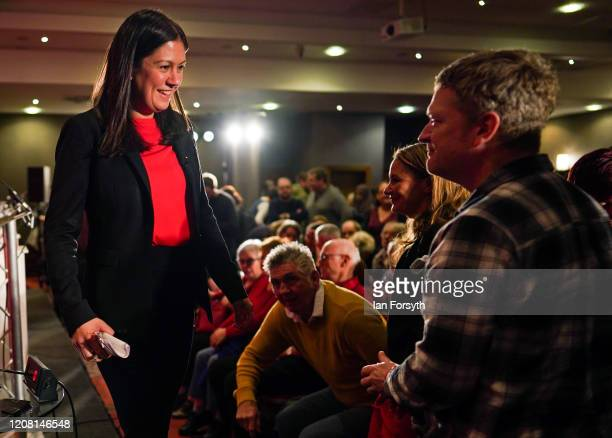 Lisa Nandy MP for Wigan meets audience members following the Labour Party Leadership hustings at the Radisson Blu Hotel on February 23 2020 in Durham...