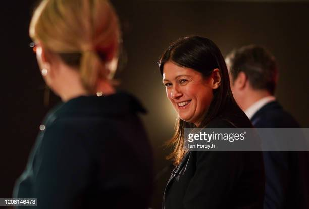 Lisa Nandy MP for Wigan reacts as she takes part in the Labour Party Leadership hustings at the Radisson Blu Hotel on February 23 2020 in Durham...