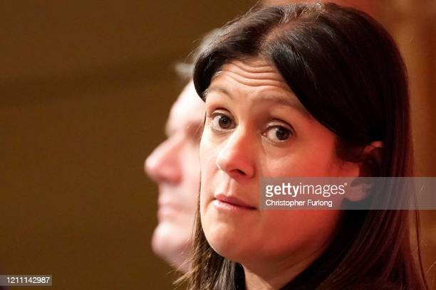 Lisa Nandy MP for Wigan reacts as she takes part in the last Labour Party Leadership hustings at Dudley Town Hall on March 08 2020 in Dudley England...