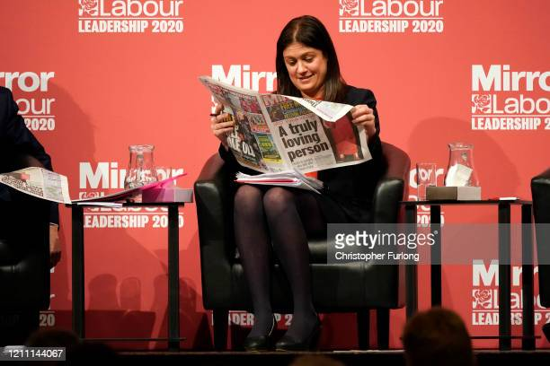 Lisa Nandy, MP for Wigan reads a question printed in the Sunday Mirror newspaper as she takes part in the last Labour Party Leadership hustings at...