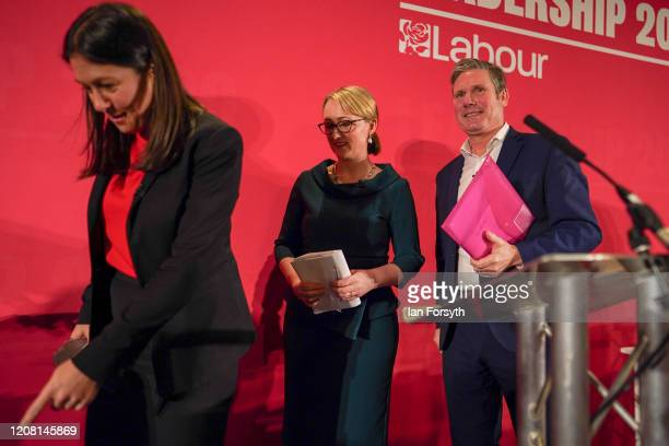 Lisa Nandy Rebecca LongBailey and Sir Keir Starmer leave the stage following the Labour Party Leadership hustings at the Radisson Blu Hotel on...