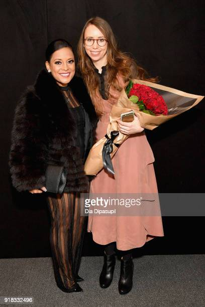Lisa Nicole Cloud and Leanne Marshall poses backstage for Leanne Marshall during New York Fashion Week The Shows at Gallery II at Spring Studios on...