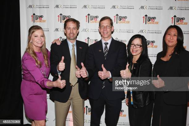 Lisa Niemi Swayze Dr David Tuveson Dr Robert Vonderheide Dr Elizabeth Jaffee and Dr Sung Poblete attend the Stand Up to Cancer press event at the...