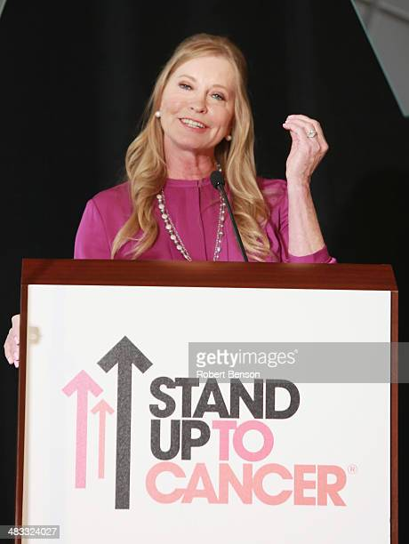 Lisa Niemi Swayze speaks at the Stand Up to Cancer press event at the 2014 AACR Annual Meeting at the San Diego Marriott Hotel Marina on April 7 2014...