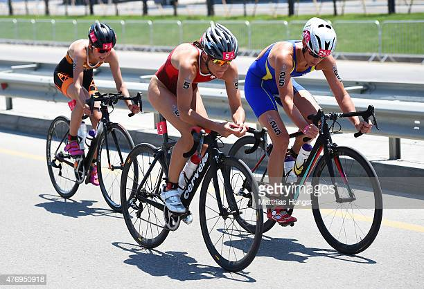 Lisa Norden of Sweden Nicola Spirig of Switzerland and Rachel Klamer of Netherlands ride in the Women's Triathlon Final during day one of the Baku...