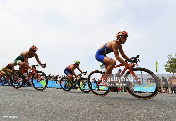 Lisa Norden of Sweden rides during the Women's Triathlon on Day 15 of the Rio 2016 Olympic Games at Fort Copacabana on August 20 2016 in Rio de...