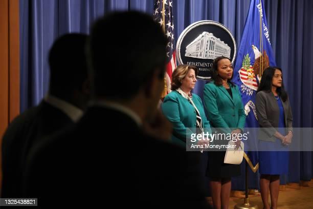 Lisa O. Monaco, Deputy Attorney General, Kristen Clarke, Assistant Attorney General for the Civil Rights Division, and Vanita Gupta, associate U.S....