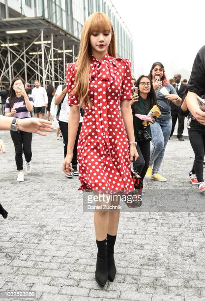 Lisa of Blackpink is seen wearing a polkadot dress outside the Michael Kors show during New York Fashion Week Women's S/S 2019 on September 12 2018...