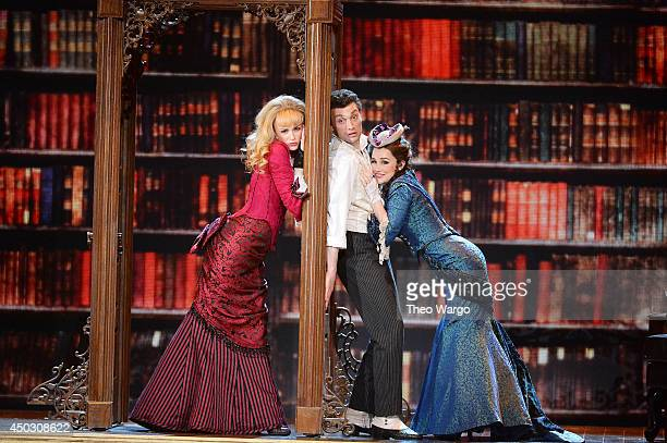 Lisa O'Hare Bryce Pinkham and Lauren Worsham of 'A Gentleman's Guide To Love and Murder' perform onstage during the 68th Annual Tony Awards at Radio...