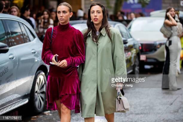 Lisa Olsson wearing velvet dress and Sania Claus Demina wearing green trench coat seen outside Saks Potts during Copenhagen Fashion Week...